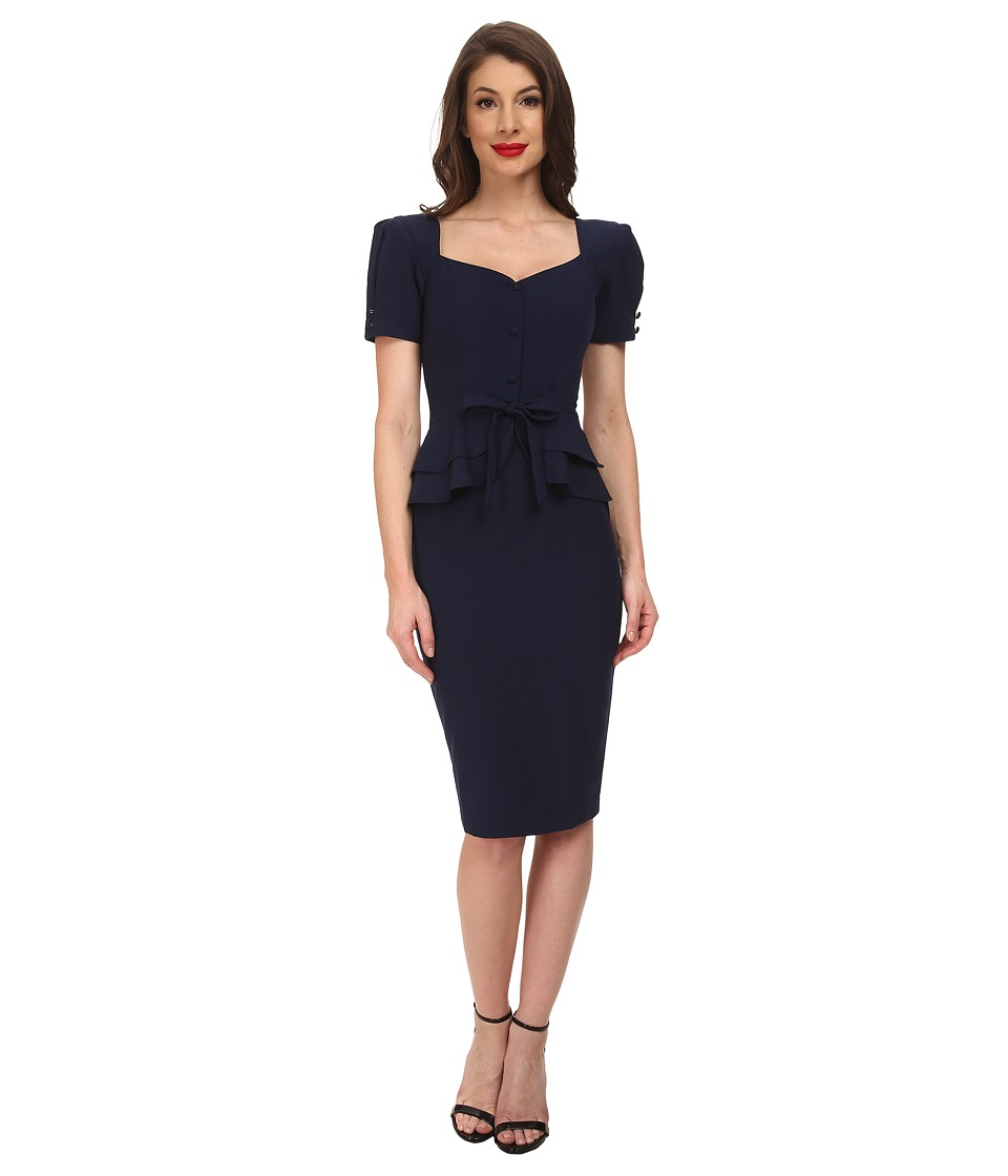 Stop Staring - Faith Fitted Dress Navy Womens Dress $218.00 AT vintagedancer.com