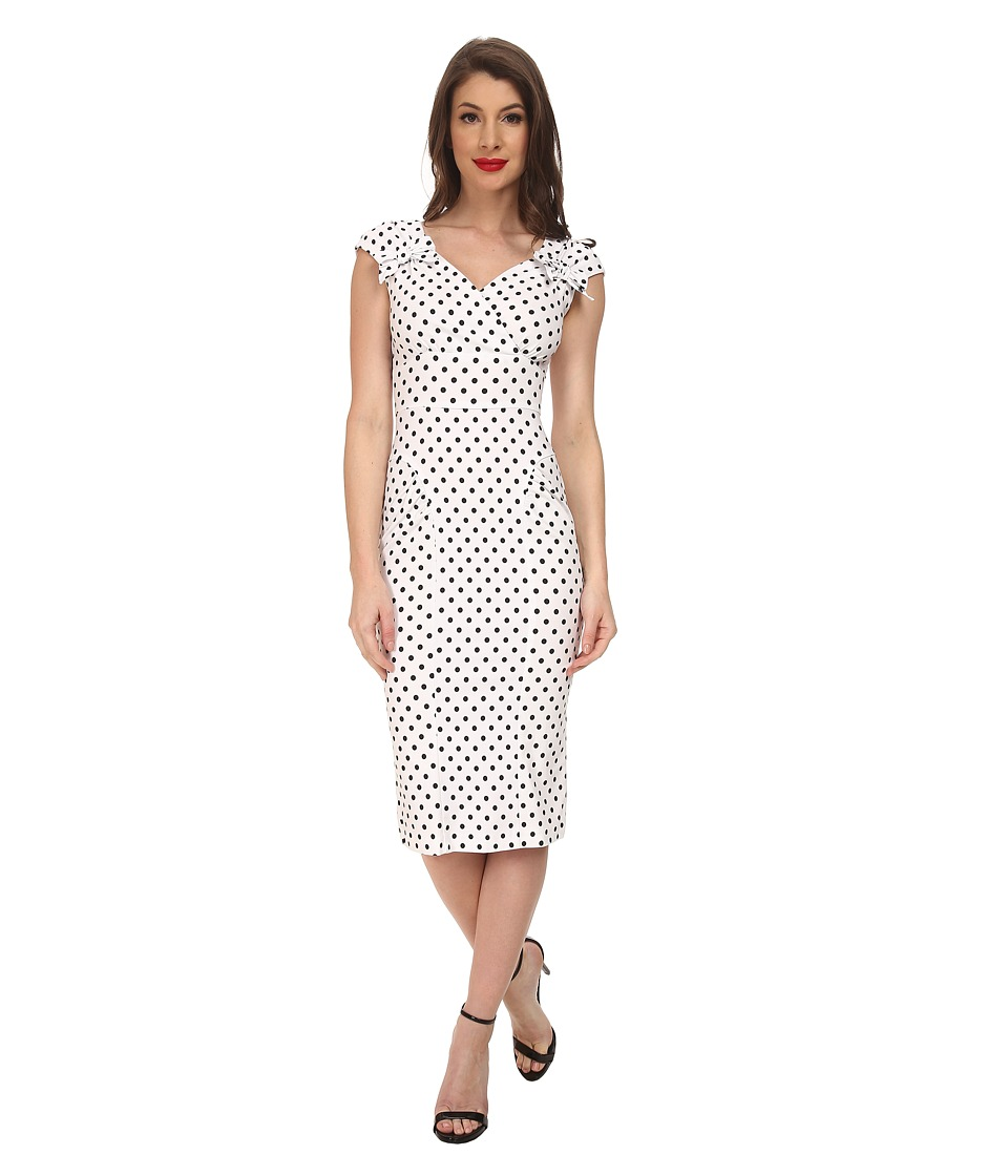Stop Staring - Beila Fitted Dress WhiteBlack Polka Dots Womens Dress $198.00 AT vintagedancer.com