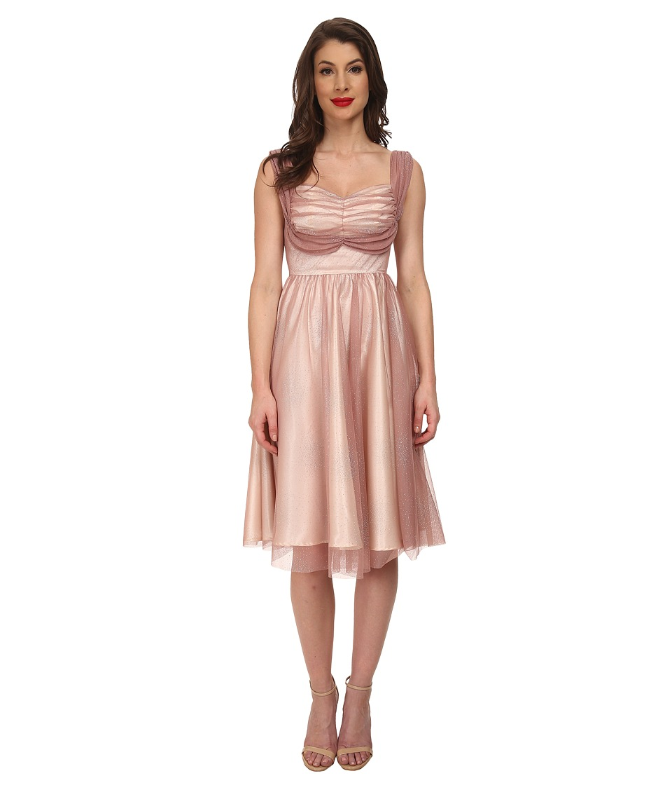 Stop Staring - Gracie Swing Dress Dusty PinkSilver Womens Dress $223.00 AT vintagedancer.com