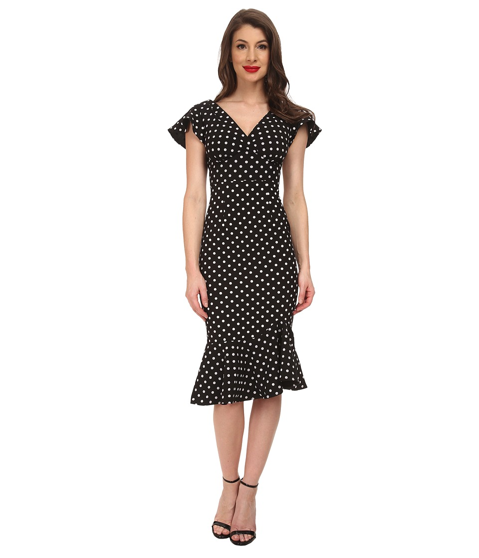 Stop Staring - Leilani A-Line Dress BlackWhite Dot Womens Dress $203.00 AT vintagedancer.com