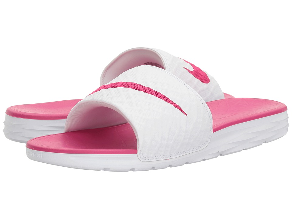 Nike Benassi Solarsoft Slide 2 (White/Fireberry) Slides
