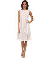 BCBGMAXAZRIA - Avril Round Neck Lace Blocked Dress