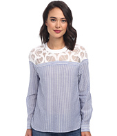 BCBGMAXAZRIA - Jasmyn Lace Yoke Striped Shirt