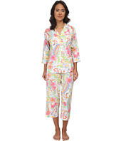 LAUREN by Ralph Lauren - Goa Lawn 3/4 Sleeve Notch Collar Capri PJ Set