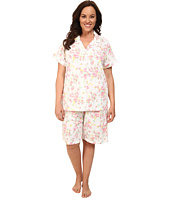 LAUREN by Ralph Lauren - Plus Size Garden Party Classic Notch Collar Bermuda PJ Set