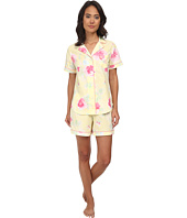 LAUREN by Ralph Lauren - Garden Party Short Sleeve Notch Collar Boxer PJ Set