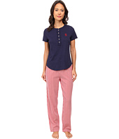 LAUREN Ralph Lauren - Il Pellicano Short Sleeve Knit Top w/ Long Woven Pants