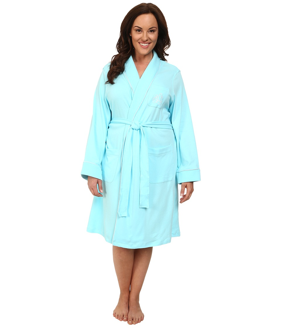 LAUREN Ralph Lauren - Plus Size Essentials Quilted Collar and Cuff Robe (Garden Turquoise) Women's Robe plus size,  plus size fashion plus size appare