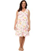 LAUREN by Ralph Lauren - Plus Size Garden Party Short Gown w/ Ruffle & Flounce
