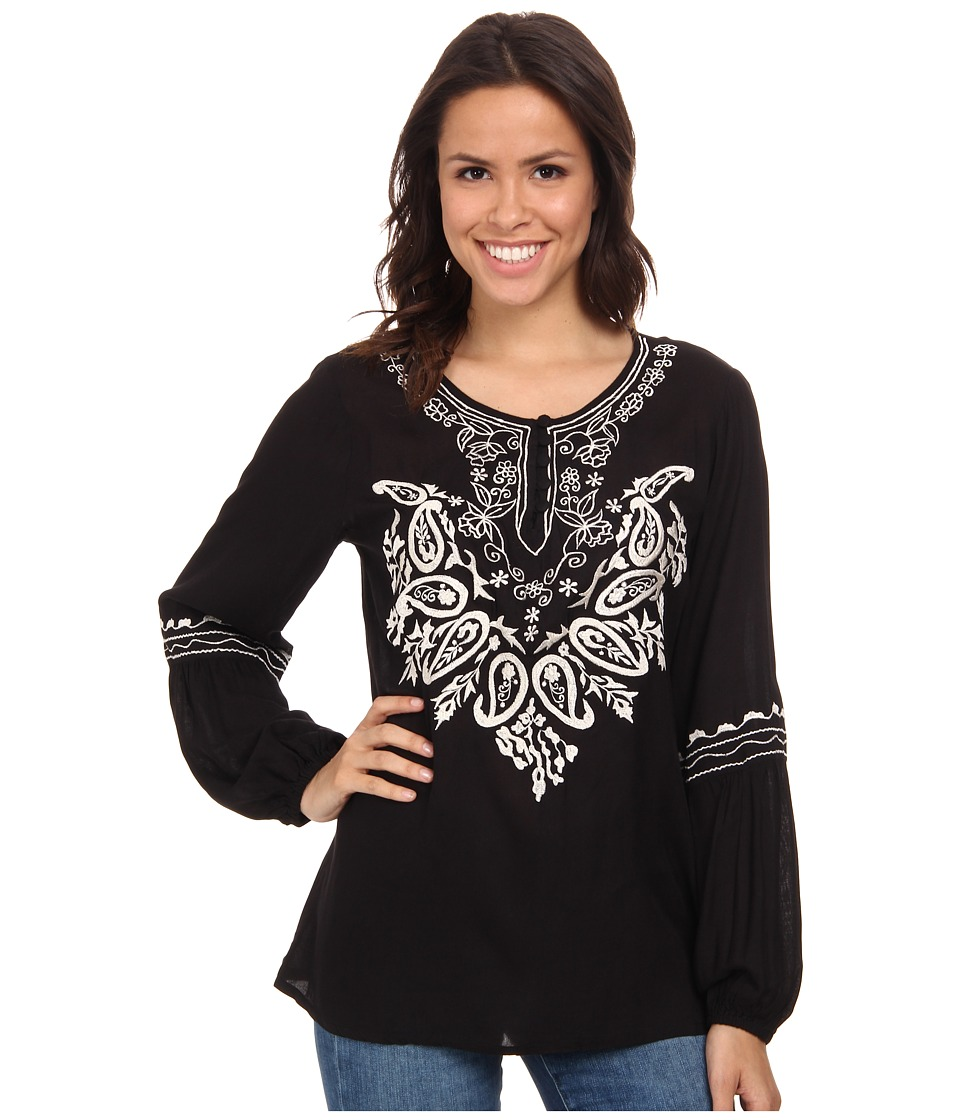 Scully - Gabriella Embroidered Top Black Womens Blouse $75.00 AT vintagedancer.com