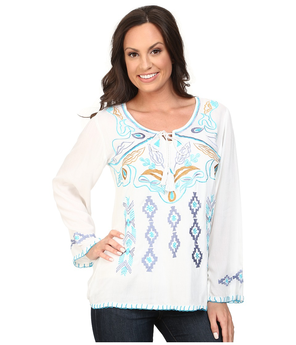 Scully Daniela Embroidered Top White Womens Clothing