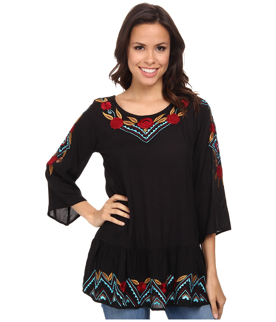 Scully - Camila Embroidered Top Black Womens Blouse $75.00 AT vintagedancer.com
