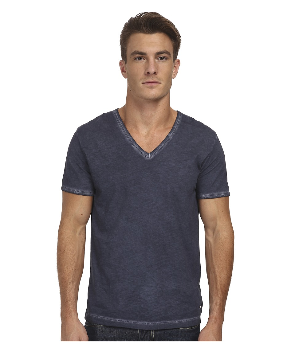 BOSS Orange Toulouse Fashion Fit Garment Dyed Jersey V Neck Tee Dark Blue Mens Short Sleeve Pullover