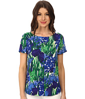 Adrianna Papell - Boat Neck Printed Woven Tee
