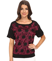 Adrianna Papell - Boat Neck Embroidered Knit Top