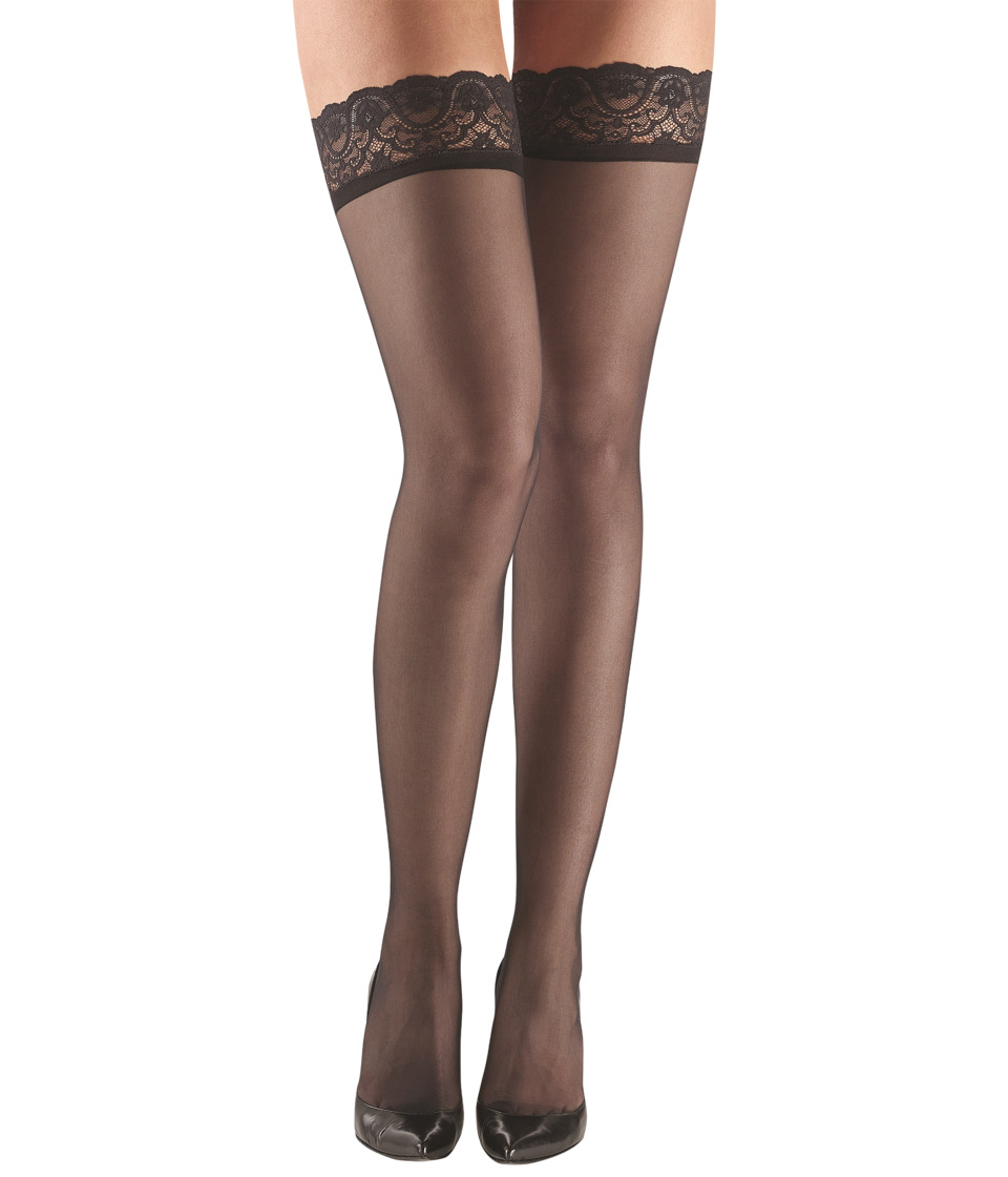 Commando - Up All Night Sexy Sheer with Lace HTH06 (Black) Womens Thigh High Socks Shoes