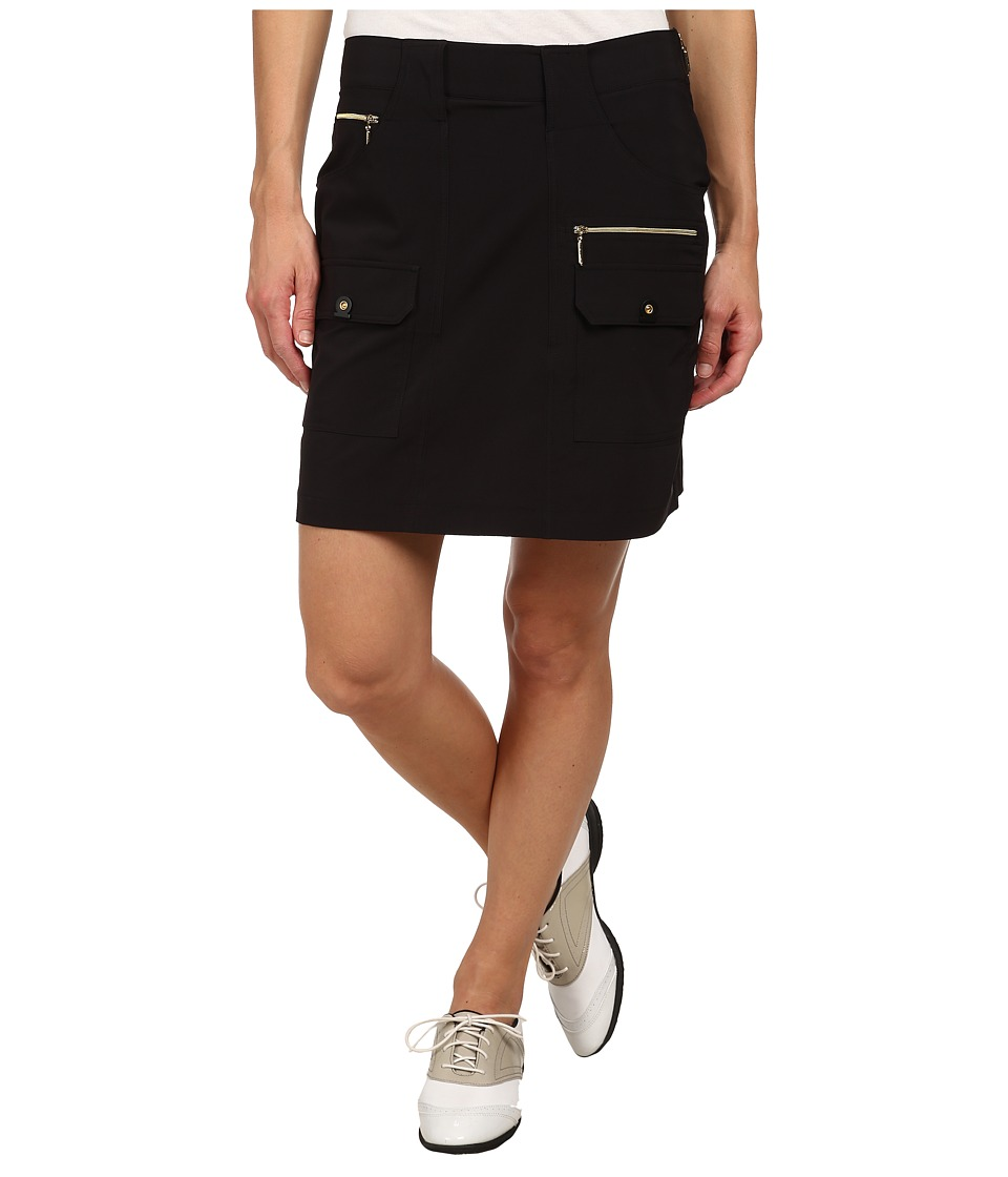 Jamie Sadock Airwear Light Weight 18 in. Skort Jet Black with Gold Zippers Womens Skort