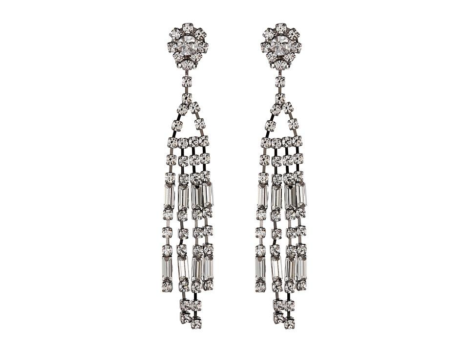 Kenneth Jay Lane - 1009EGMC Earrings (Gunmetal/Crystal) Earring