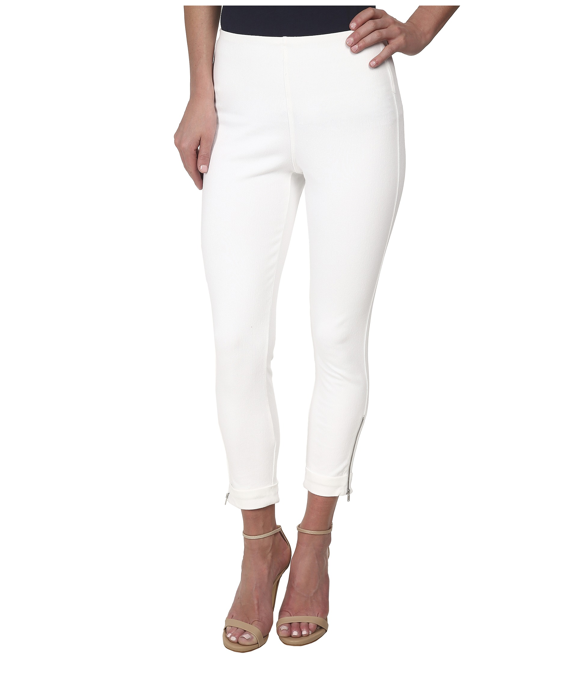 Ladies White Cropped Jeans