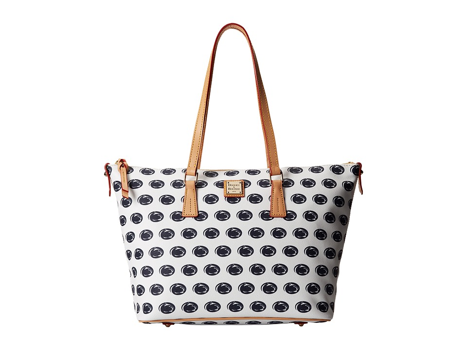 Dooney & Bourke - Collegiate Zip Top Shopper (White Penn State) Tote Handbags