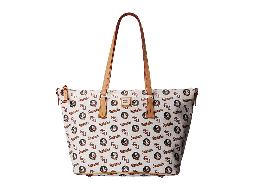 Dooney amp Bourke Collegiate Zip Top Shopper White Florida State Tote Handbags