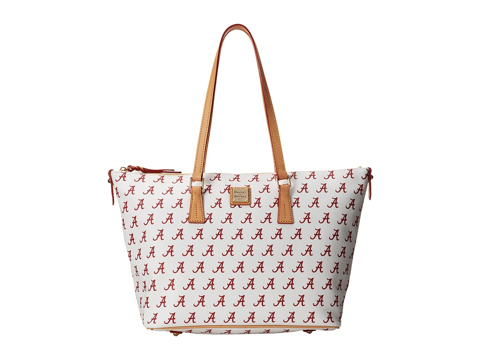 Dooney amp Bourke Collegiate Zip Top Shopper White Alabama Tote Handbags