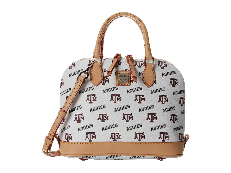 Dooney & Bourke - Collegiate Zip Zip Satchel (White Texas A & M) Satchel Handbags
