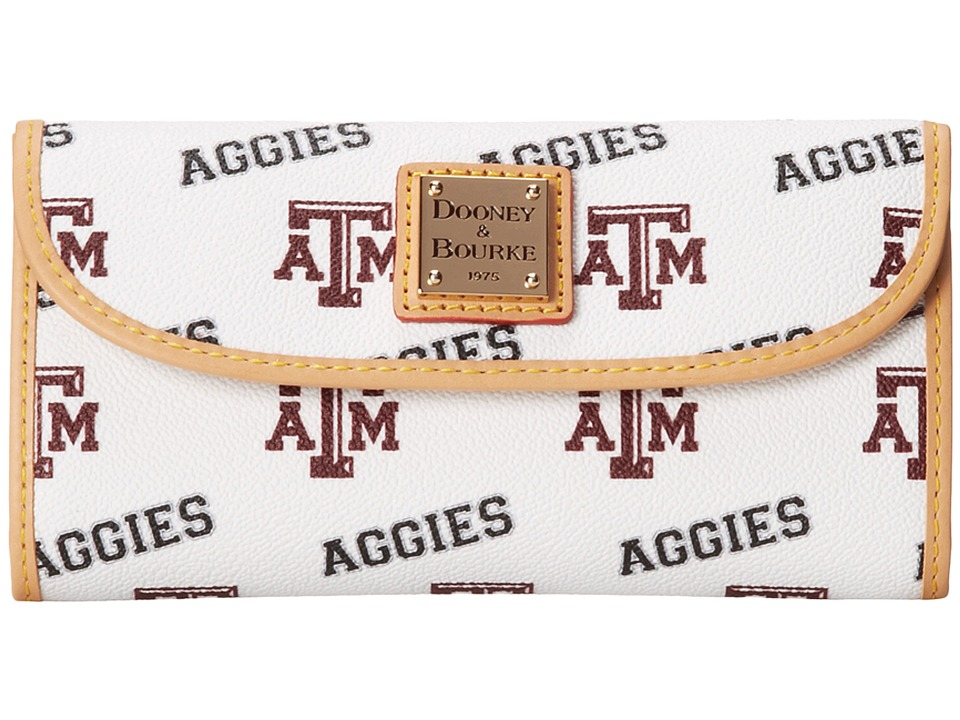 Dooney & Bourke - Collegiate Continental Clutch (White Texas A & M) Clutch Handbags