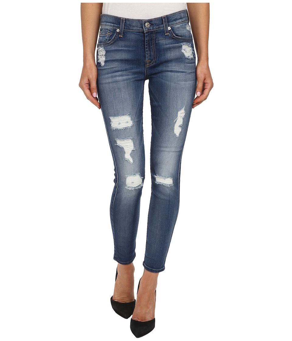7 For All Mankind - The Ankle Skinny w/ Destroy in Distressed Authentic Light 2