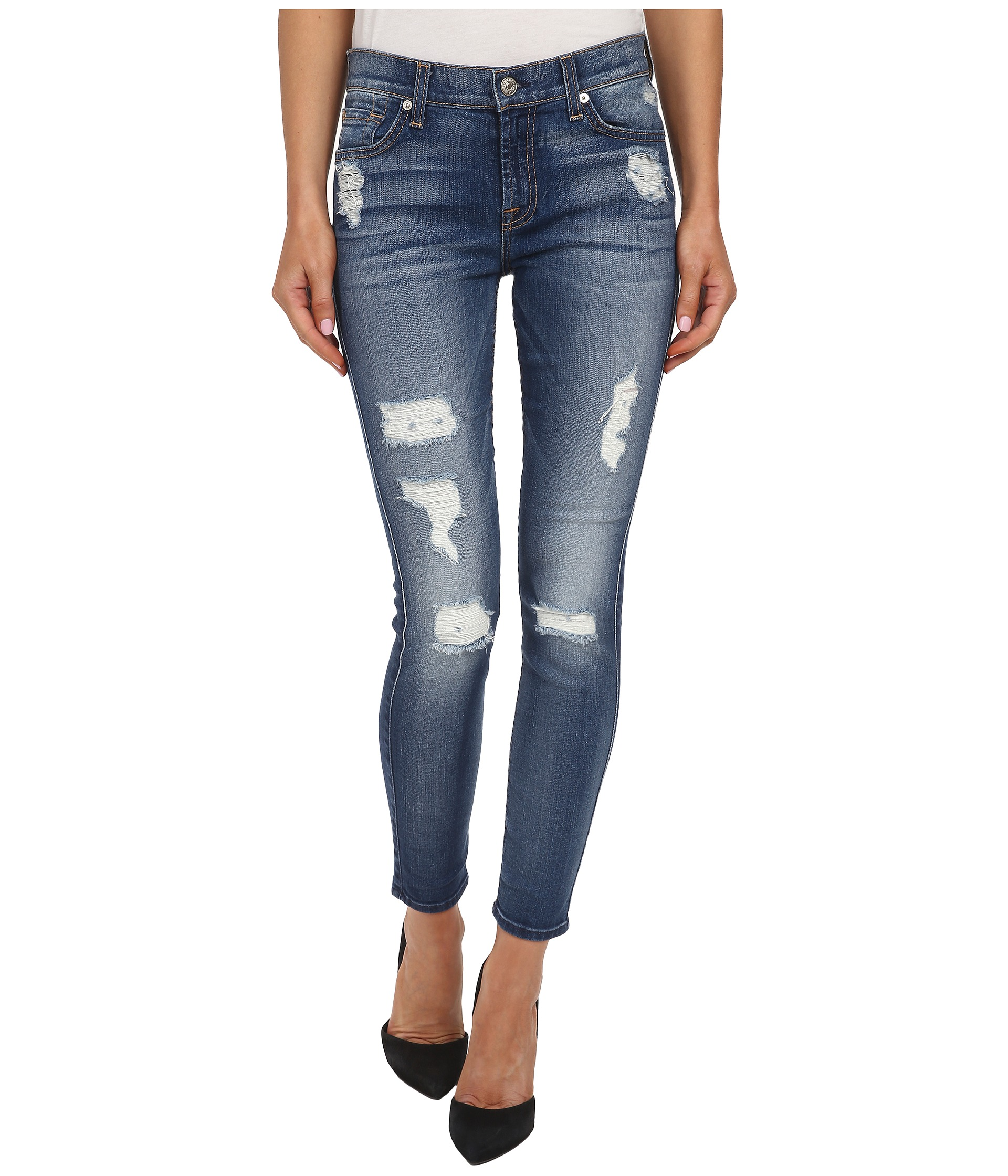 7 For All Mankind The Ankle Skinny w/ Destroy in Distressed ...