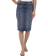 7 For All Mankind - Seamed Pencil Skirt w/ Pocket Detail in Distressed Authentic Light