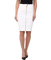 7 For All Mankind - Front Zip Pencil Skirt (Gold Zipper) in Runway White