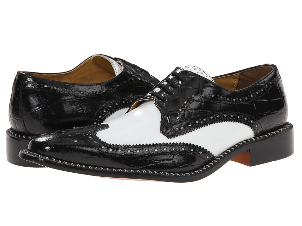 1940s Style Mens Shoes Giorgio Brutini - Caster BlackWhite Mens Lace Up Wing Tip Shoes $79.00 AT vintagedancer.com