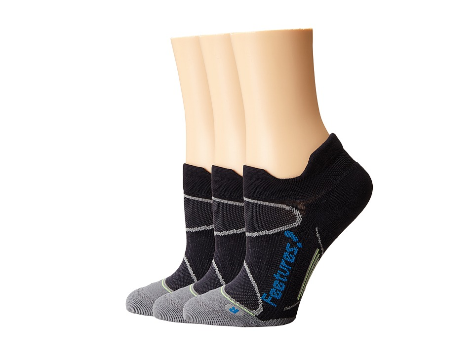 Feetures Elite Light Cushion No Show Tab 3 Pair Pack Black/Pacific Blue No Show Socks Shoes