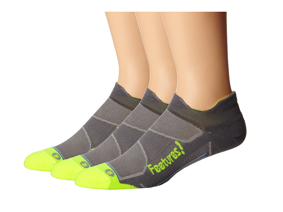 Feetures Elite Light Cushion No Show Tab 3 Pair Pack Graphite/Reflector No Show Socks Shoes