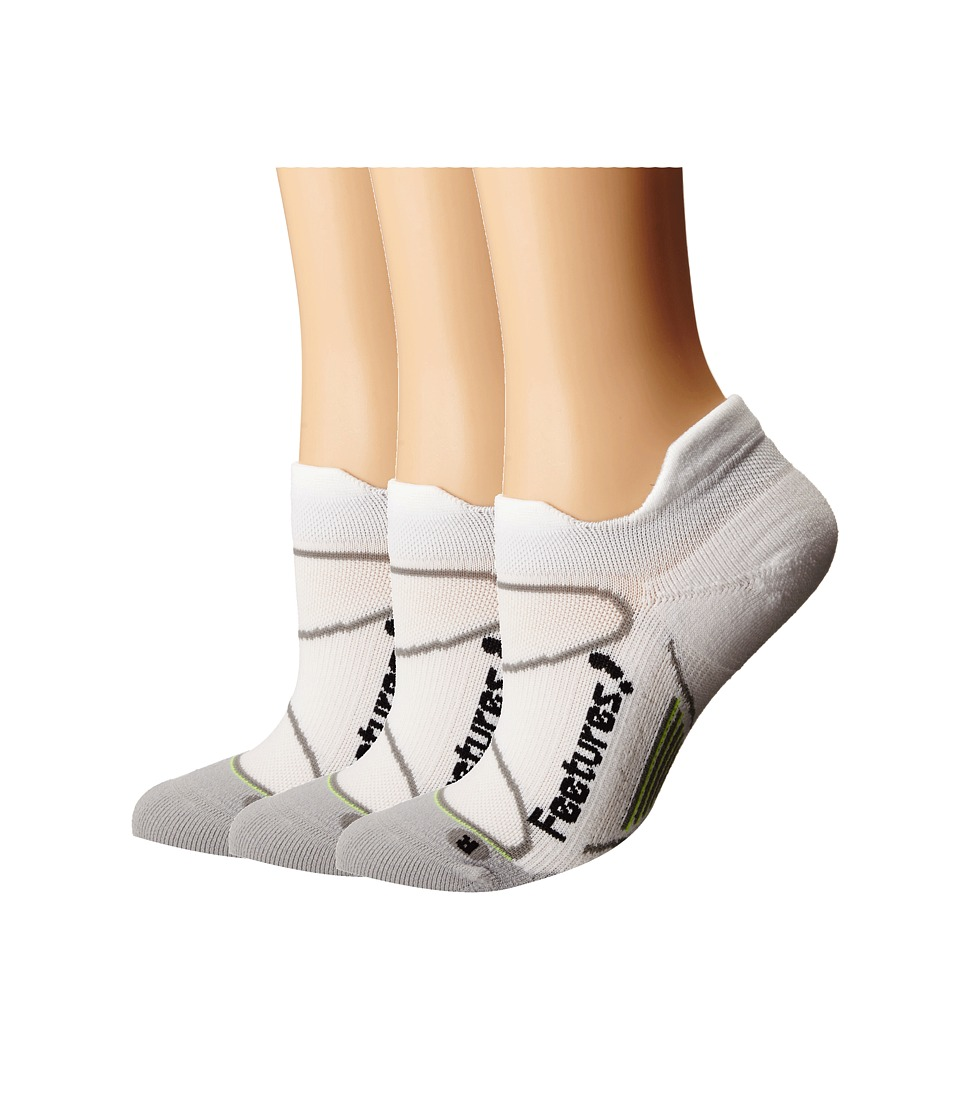 Feetures Elite Light Cushion No Show Tab 3 Pair Pack White/Black No Show Socks Shoes