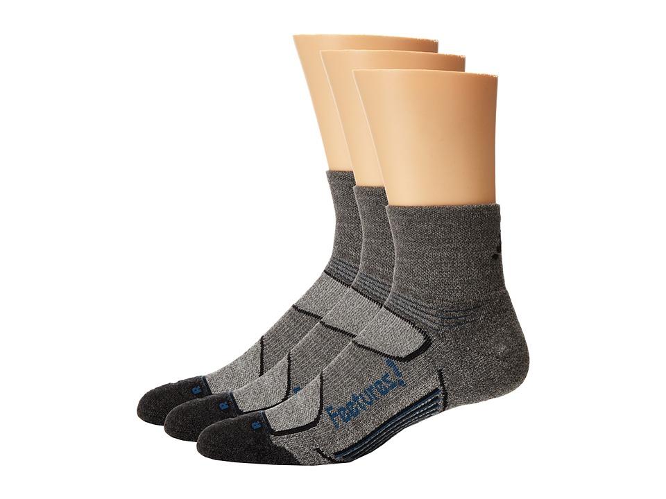 Feetures Elite Merino Light Cushion Quarter 3 Pair Pack Gray/Pacific Blue 1 Quarter Length Socks Shoes