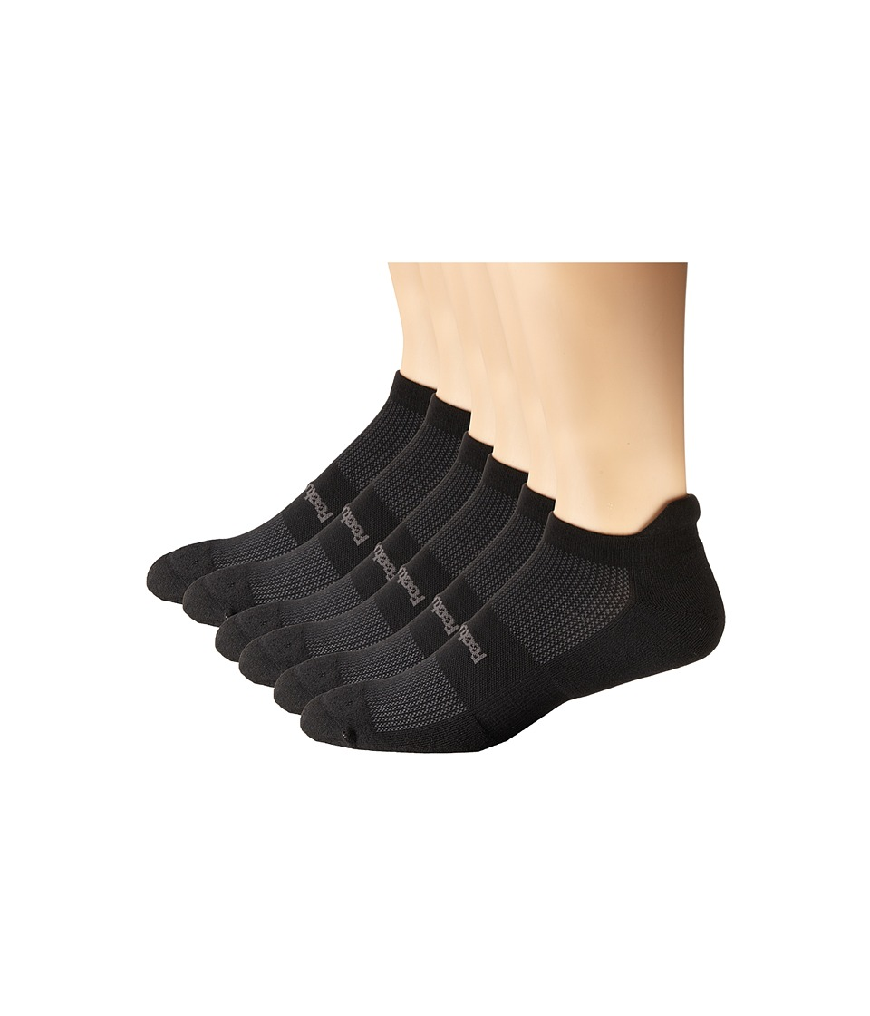 Feetures High Performance Light Cushion No Show Tab 6 Pair Pack Black No Show Socks Shoes