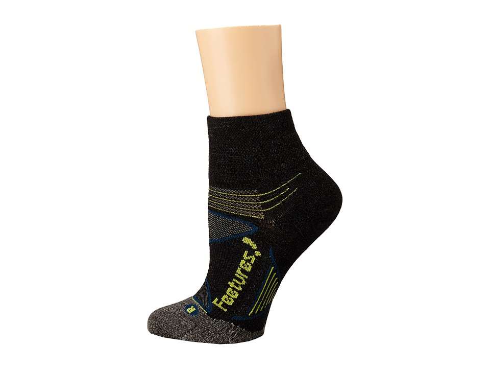 Feetures Elite Merino Ultra Light Cushion Quarter 3pk Charcoal/Lime 1 Quarter Length Socks Shoes