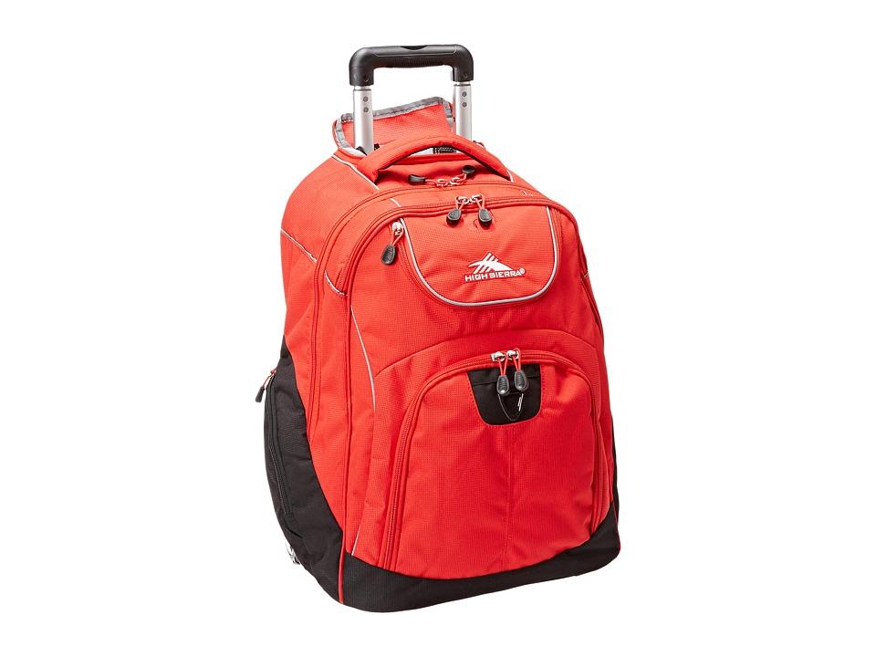 High Sierra Powerglide Wheeled Backpack Crimson/Black Backpack Bags