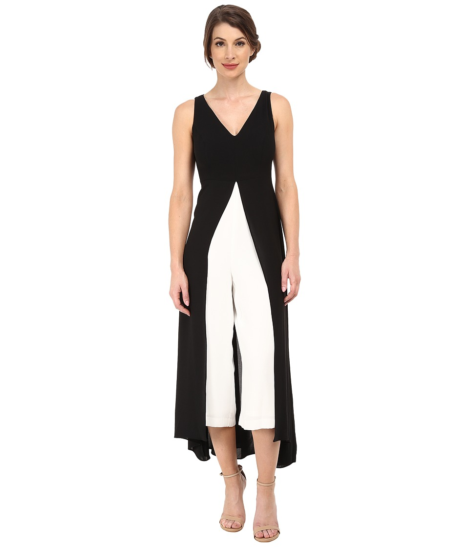 Adrianna Papell - Color Blocked Overlay Jumpsuit BlackIvory Womens Jumpsuit  Rompers One Piece $180.00 AT vintagedancer.com