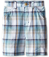 le top - Grasshopper Plaid Woven Shorts (Infant/Toddler)