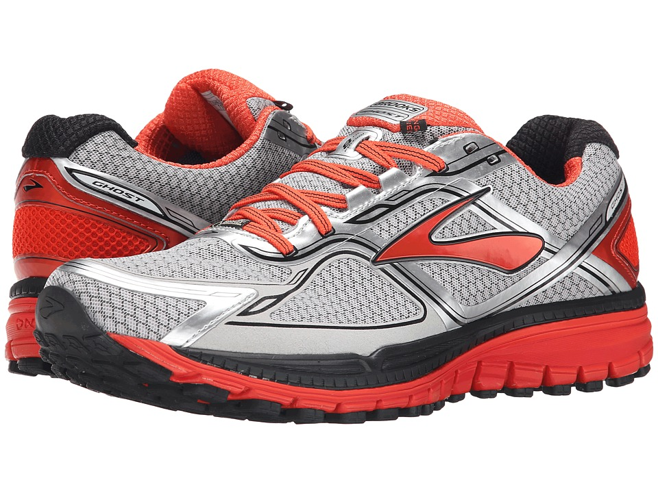 Brooks Ghost 8 GTX Silver/Poinciana/Black Mens Running Shoes