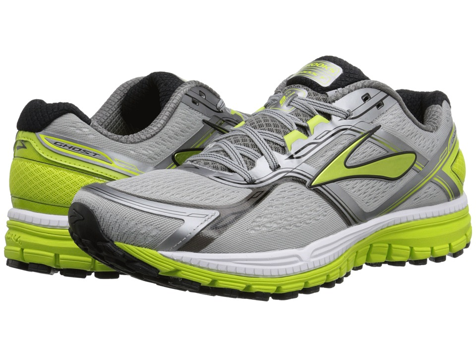 Brooks Ghost 8 Metallic Charcoal/Lime Punch/Silver Mens Running Shoes