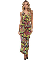 Tbags Los Angeles - Spaghetti Strap Deep-V Maxi Dress with Front Tie