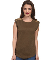 MICHAEL Michael Kors - Petite Short Sleeve Stud Shoulder Top