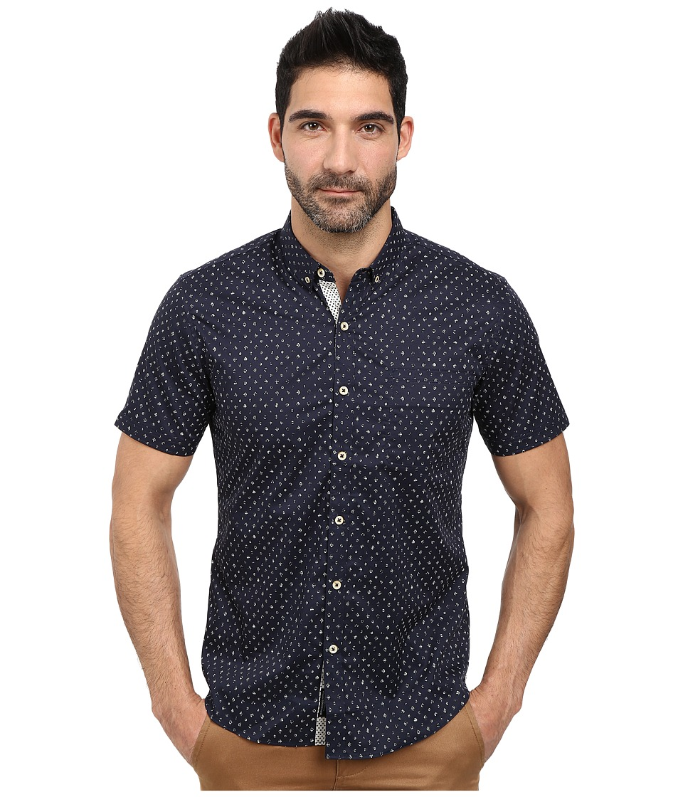 7 Diamonds Answers in The Sun Short Sleeve Shirt Navy Mens Short Sleeve Button Up