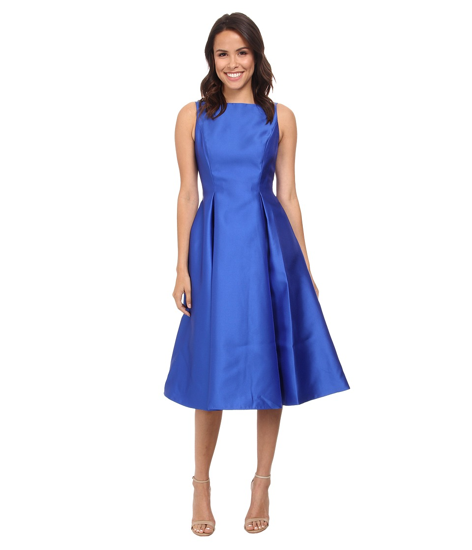 Adrianna Papell Sleeveless Tea Length Dress Blue Womens Dress