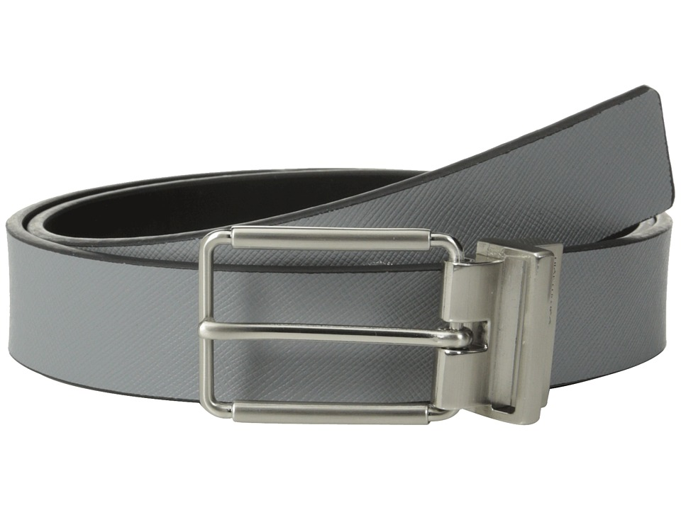 Calvin Klein 32mm Reversible Flat Strap Saffiano Leather To Smooth Grey/Black Mens Belts