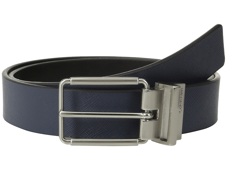Calvin Klein 32mm Reversible Flat Strap Saffiano Leather To Smooth Navy/Black Mens Belts